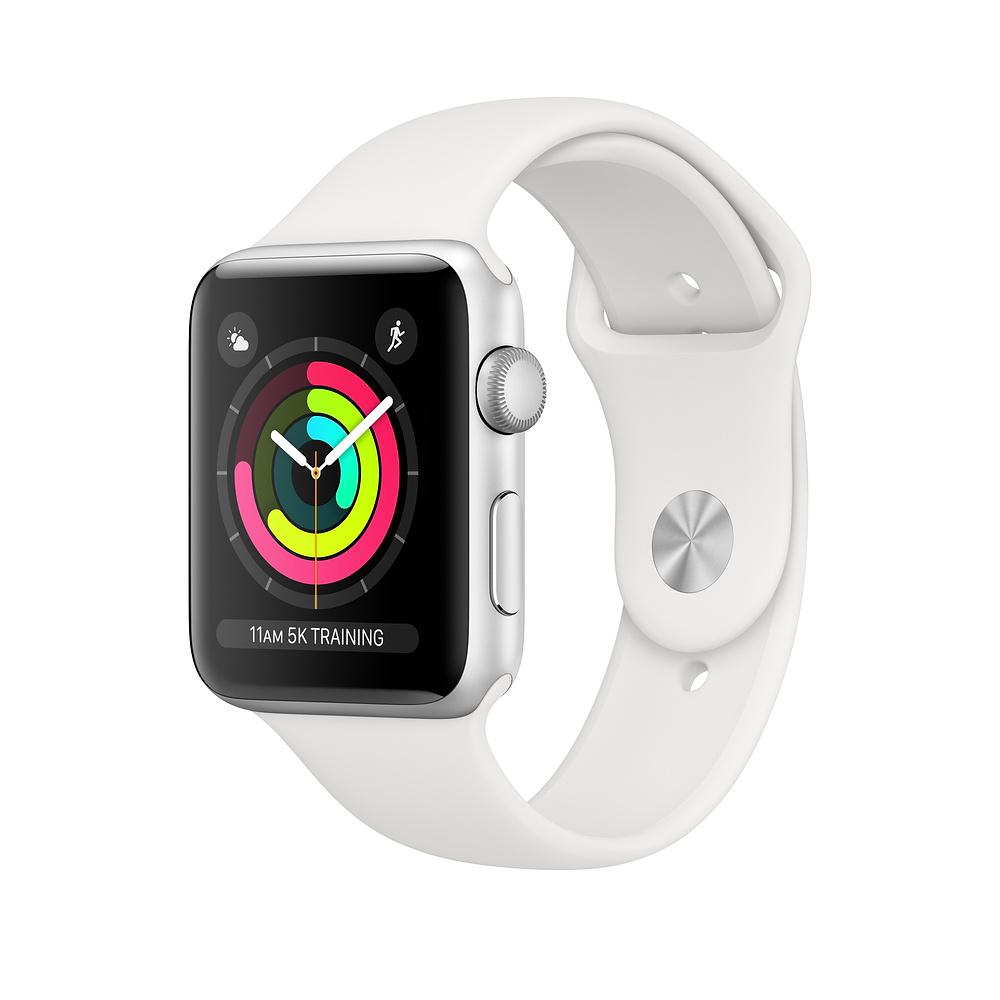 Smartwatch Apple Watch Series 3 GPS 38mm Carcasa din aluminiu argintie si bratara Sport alba