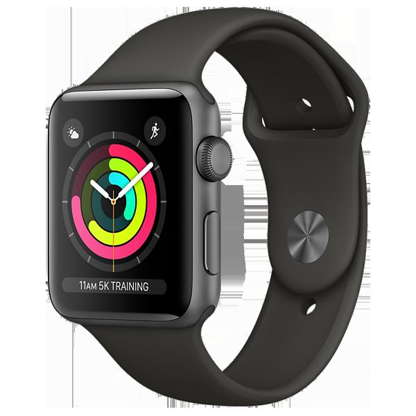 Smartwatch Apple Watch Series 3 GPS 38mm Carcasa din aluminiu gri si bratara Sport neagra