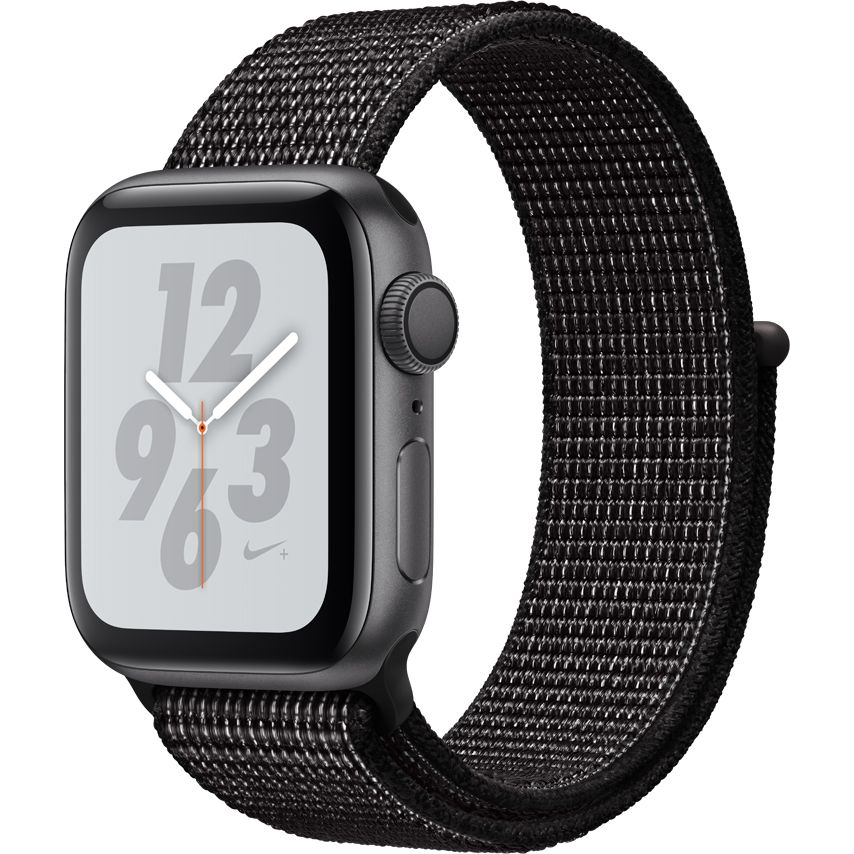 Smartwatch Apple Watch Nike+ Series 4 GPS 44mm Carcasa Space Grey Aluminium Bratara Black Nike Sport Loop