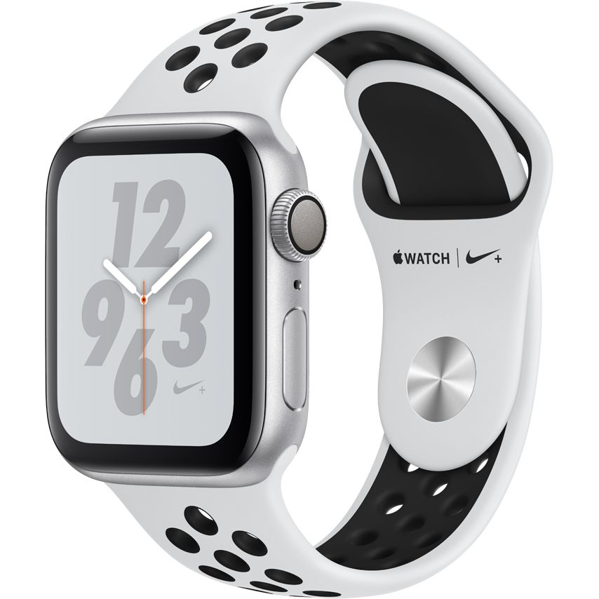 Smartwatch Apple Watch Nike+ Series 4 GPS 40mm Carcasa Silver Aluminium Bratara Pure Platinum/Black Nike Sport Band