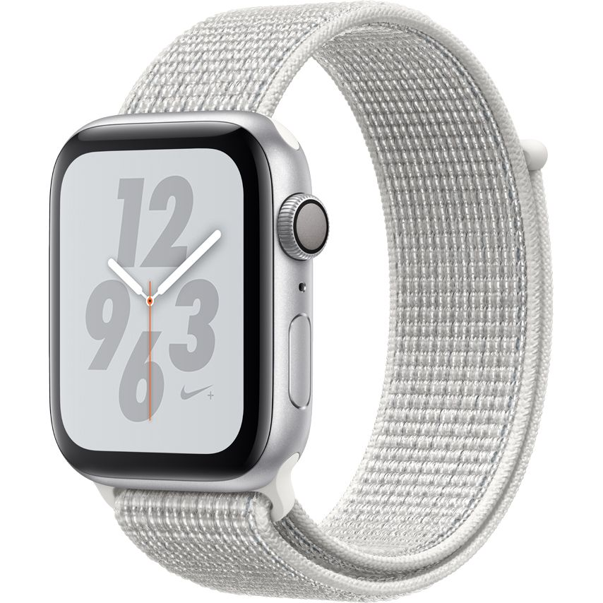 Smartwatch Apple Watch Nike+ Series 4 GPS 44mm Carcasa Silver Aluminium Bratara Summit White Nike Sport Loop
