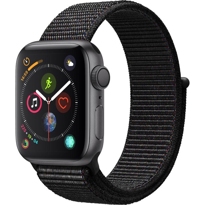 Smartwatch Apple Watch Series 4 GPS 44mm Carcasa Space Grey Aluminium Bratara Black Sport Loop