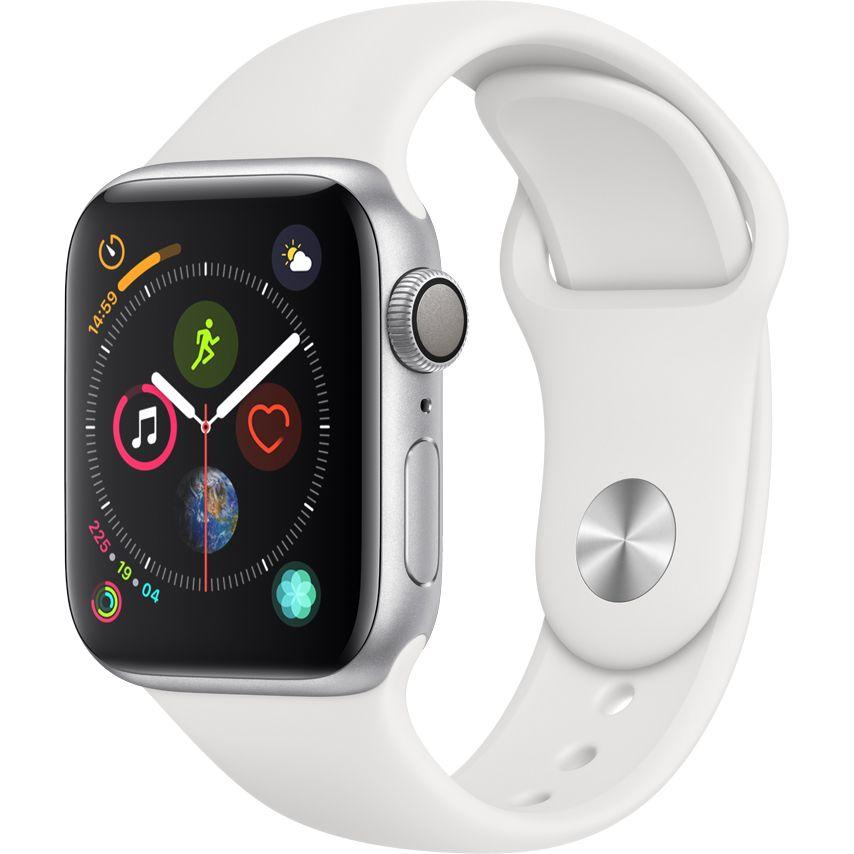 Smartwatch Apple Watch Series 4 GPS 44mm Carcasa Silver Aluminium Bratara White Sport Band