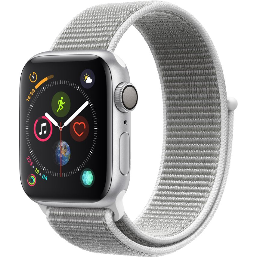 Smartwatch Apple Watch Series 4 GPS 44mm Carcasa Silver Aluminium Bratara Seashell Sport Loop