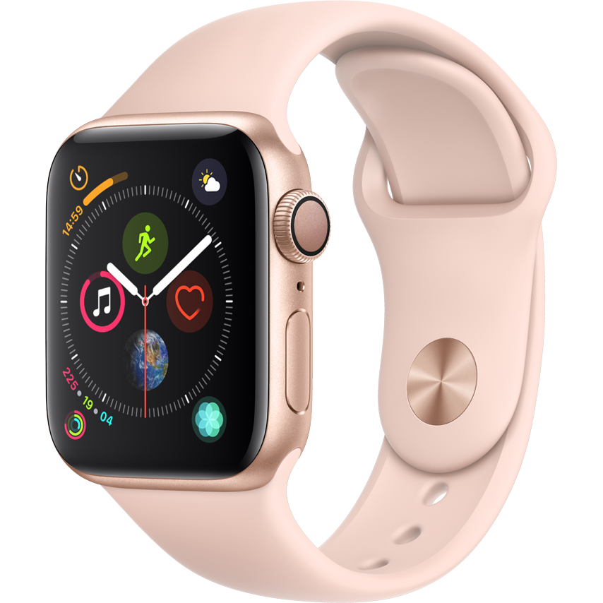 Smartwatch Apple Watch Series 4 GPS 44mm Carcasa Gold Aluminium Bratara Pink Sand Sport Band