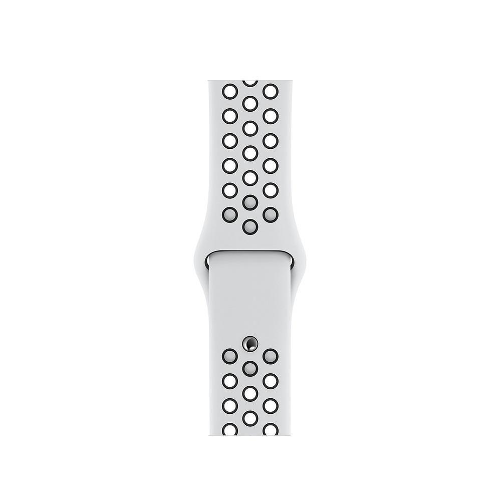 Curea Smartwatch Apple pentru Apple Watch Series 4 40mm Pure Platinum/Black Nike Sport Band - S/M & M/L