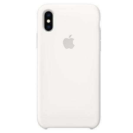 Capac protectie spate Apple Silicone Case pentru iPhone XS White