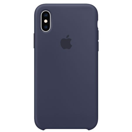 Capac protectie spate Apple Silicone Case pentru iPhone XS Midnight Blue