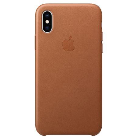 Capac protectie spate Apple Leather Case pentru iPhone XS Saddle Brown