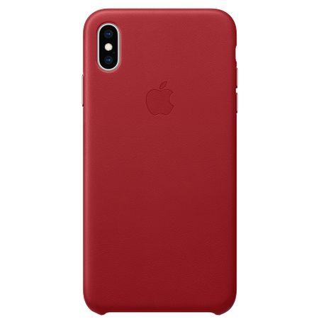 Capac protectie spate Apple Leather Case pentru iPhone XS Max Red
