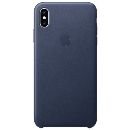 Capac protectie spate Apple Leather Case pentru iPhone XS Max Midnight Blue