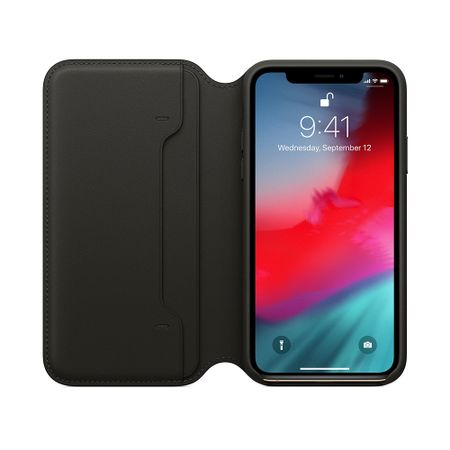 Husa Apple Leather Folio pentru iPhone XS Black