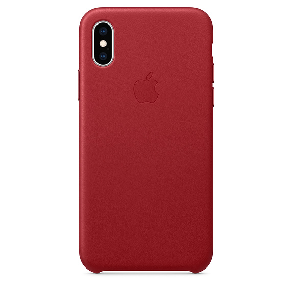 Capac protectie spate Apple Leather Case pentru iPhone XS Red