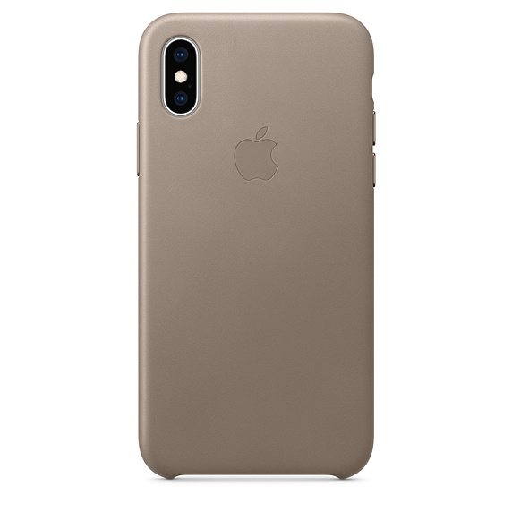 Capac protectie spate Apple Leather Case pentru iPhone XS Taupe