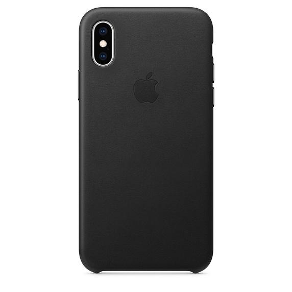 Capac protectie spate Apple Leather Case pentru iPhone XS Black
