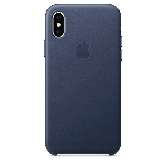 Capac protectie spate Apple Leather Case pentru iPhone XS Midnight Blue