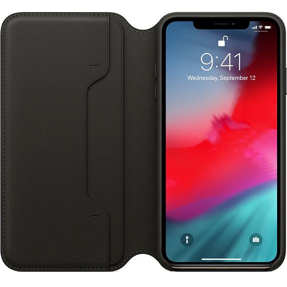 Husa Apple Leather Folio pentru iPhone XS Max Black