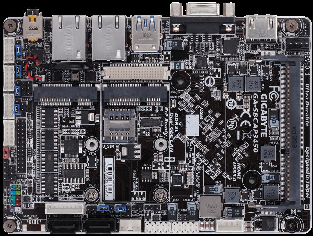 Placa de baza Gigabyte SBCAP3450 Procesor Integrat Intel Celeron N3450