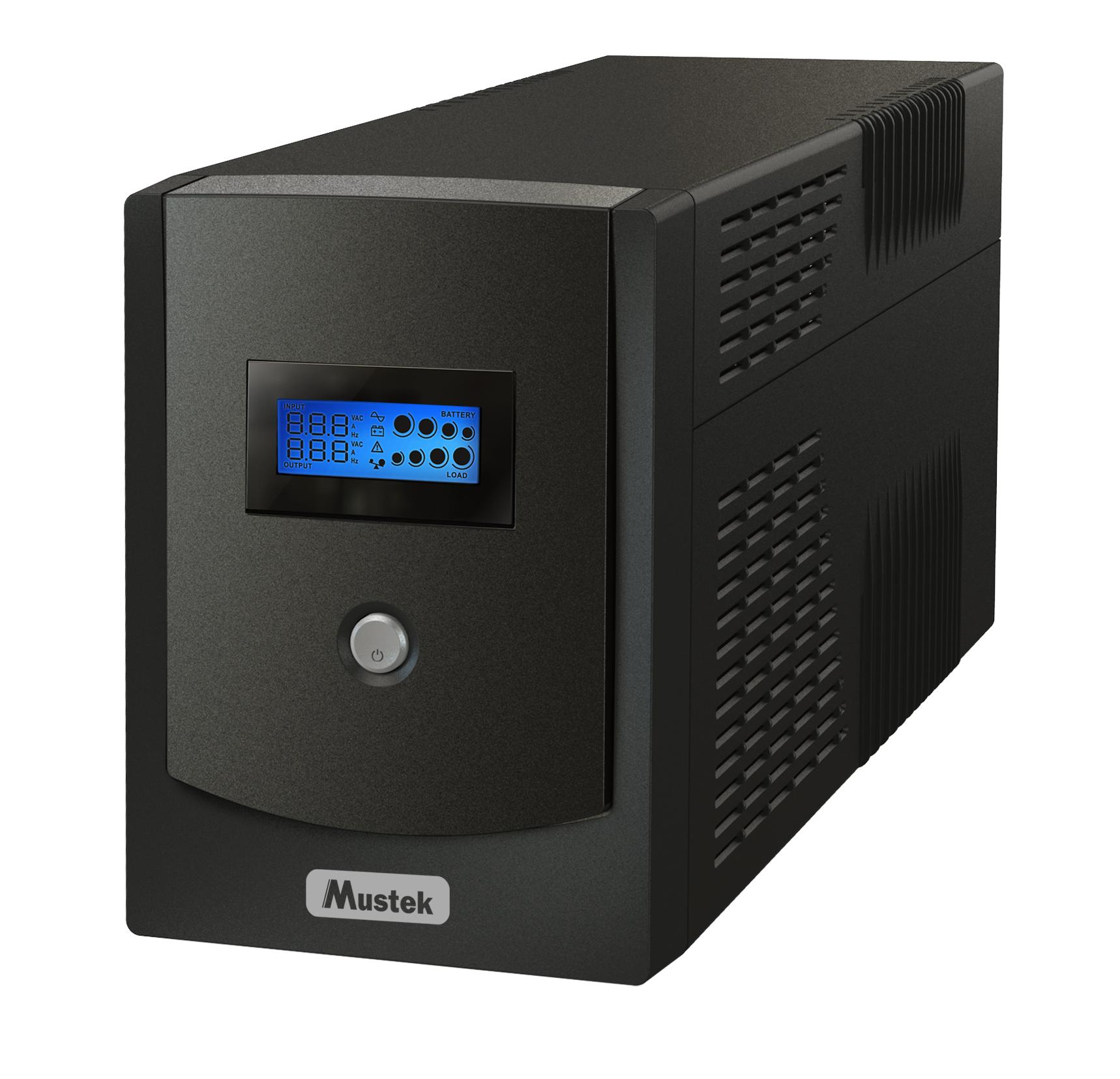 UPS Mustek PowerMust 1500 Sinewave LCD Line Interactive 1500VA/1050W 2xSchuko + 2xIEC