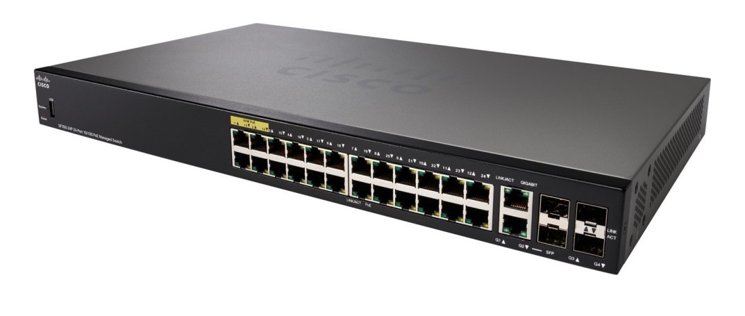 Switch Cisco SF350-24P-K9 cu PoE 24x100Mbps-RJ45 + 2xSFP
