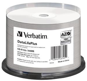 CD-R 52x DataLifePlus Wide Inkjet Printable Spindle 50