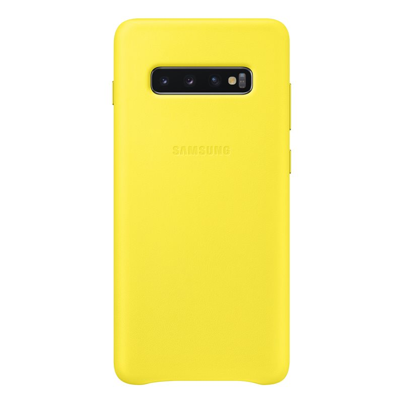 Capac protectie spate Samsung Leather Cover pentru Galaxy S10 Plus (G975F) Yellow
