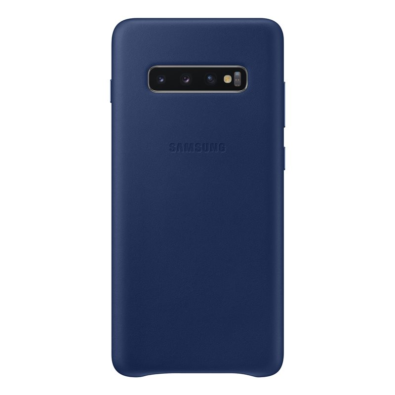 Capac protectie spate Samsung Leather Cover pentru Galaxy S10 Plus (G975F) Bleumarin