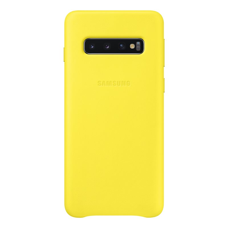 Capac protectie spate Samsung Leather Cover pentru Galaxy S10 (G973F) Yellow