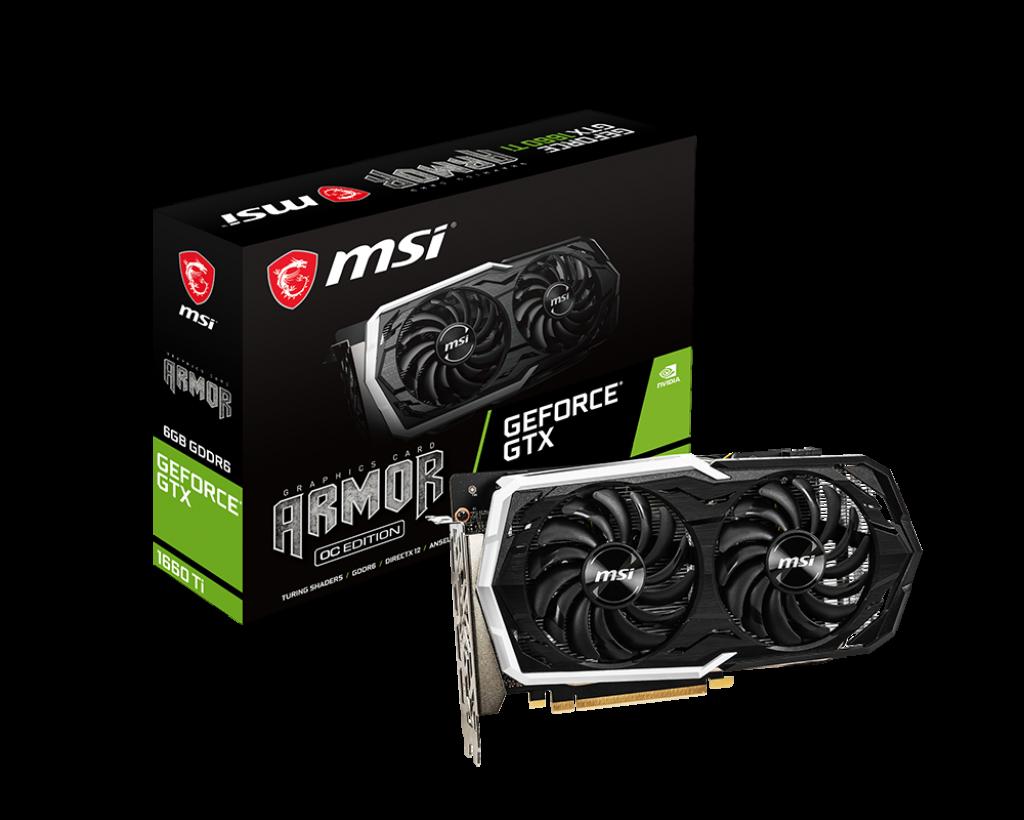 Placa Video MSI GeForce GTX 1660 Ti ARMOR 6G OC 6GB GDDR6 192 biti