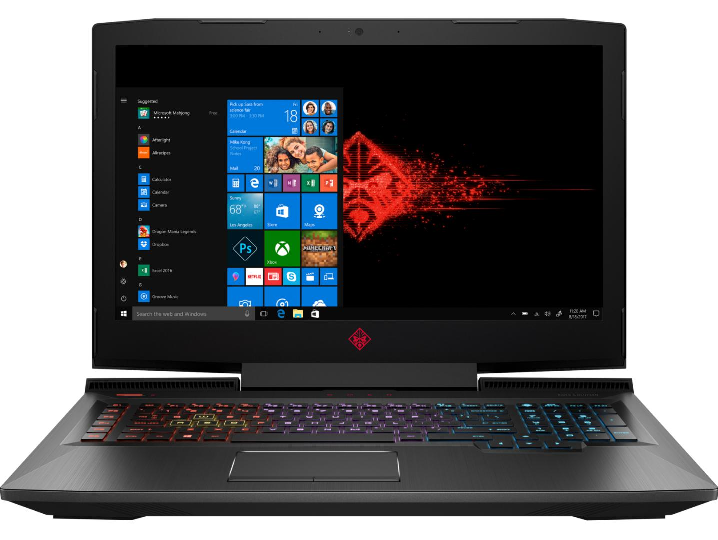 Notebook HP Omen 17.3 Full HD Intel Core i7-8750H GTX 1070-8GB RAM 12GB HDD 1TB + SSD 128GB Windows 10 Home Negru