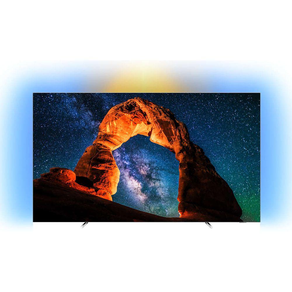 Televizor LED Philips Smart TV 55OLED803 139cm 4K Ultra HD Negru/Argintiu