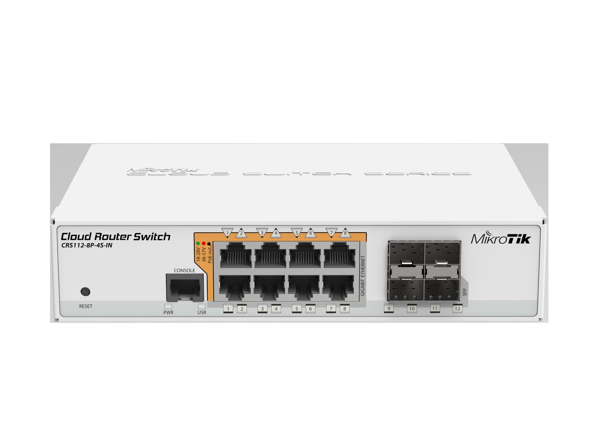 Switch Mikrotik Cloud Router CRS112-8P-4S-IN cu management cu PoE 8x1000Mbps-RJ45 + 4xSFP