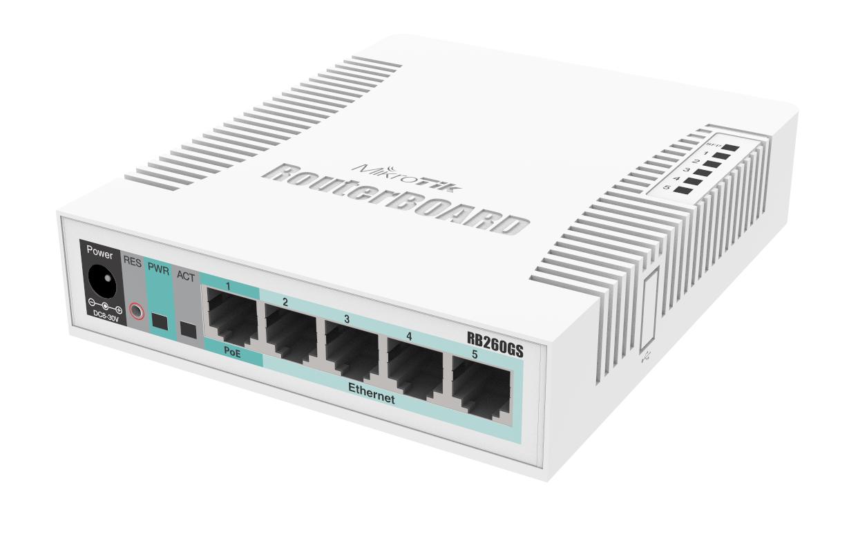 Switch Mikrotik RB260GS fara management fara PoE 5x1000Mbps-RJ45 + 1xSFP