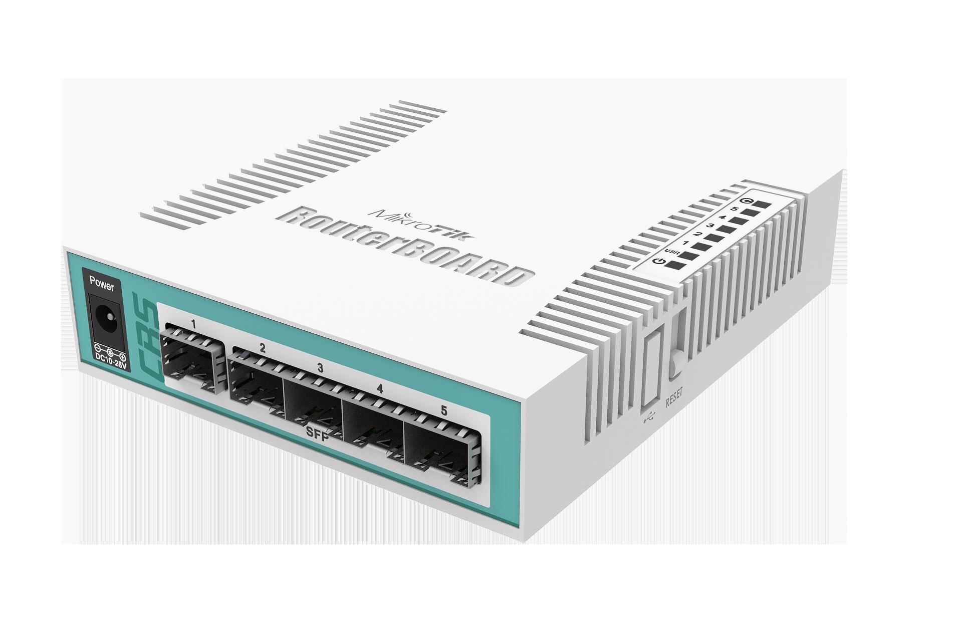 Switch Mikrotik Cloud Router CRS106-1C-5S fara management fara PoE 1x1000Mbps-RJ45 + 5xSFP