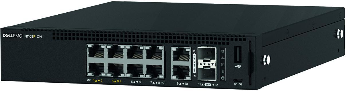 Switch Dell PowerSwitch N1108P cu management cu PoE 8x1000Mbps-RJ45 (4xPoE) + 2xSFP