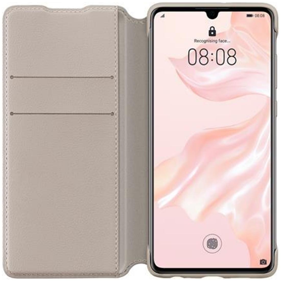 Husa Huawei Flip Wallet Cover pentru Huawei P30 Khaki