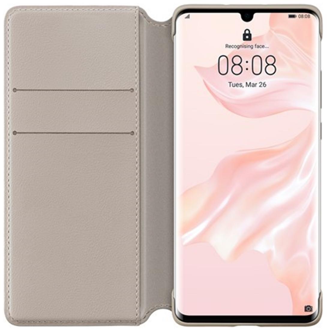 Husa Huawei Flip Wallet Cover pentru Huawei P30 Pro Khaki