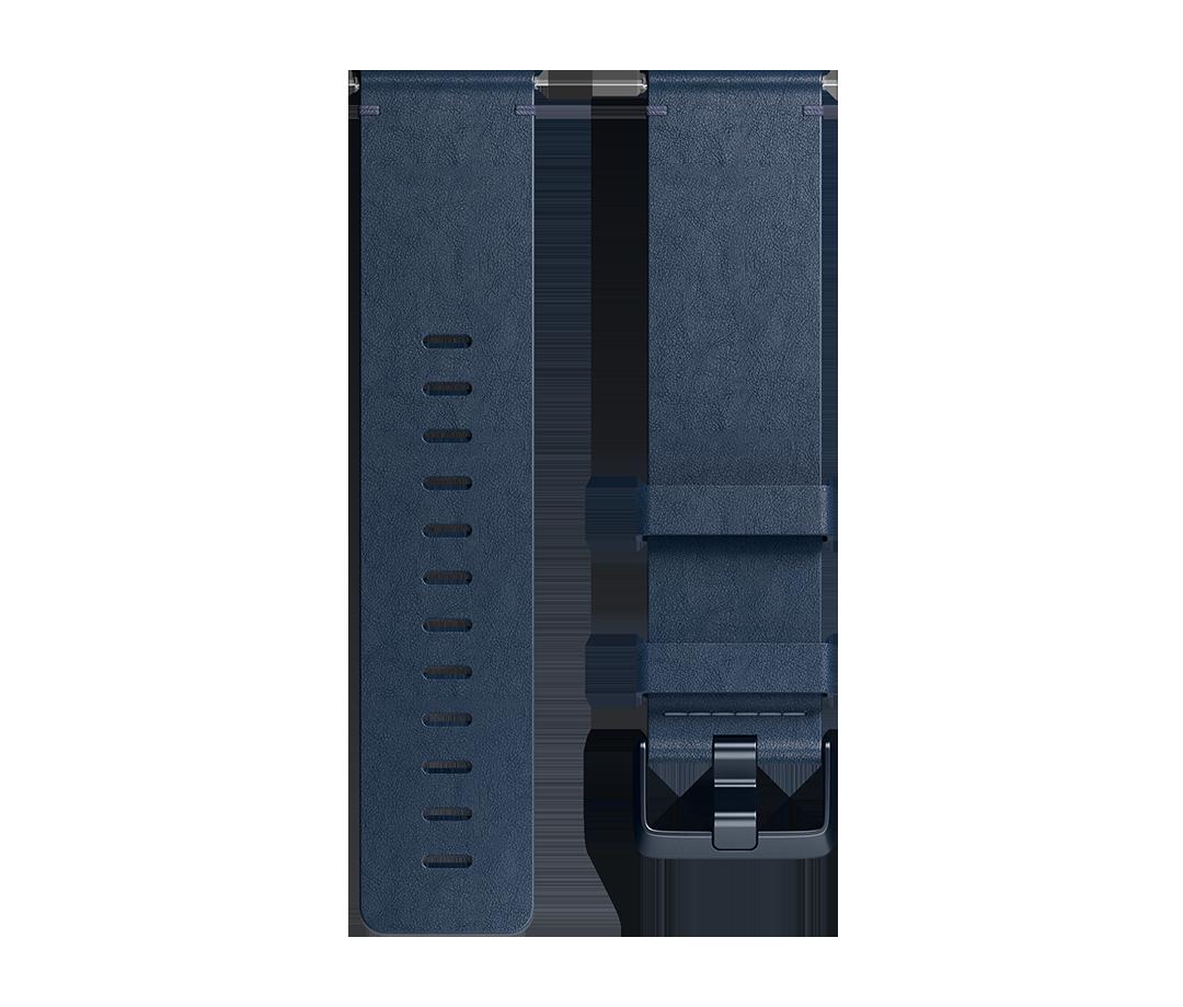 Curea Fitbit pentru Versa Leather Band Large Midnight Blue