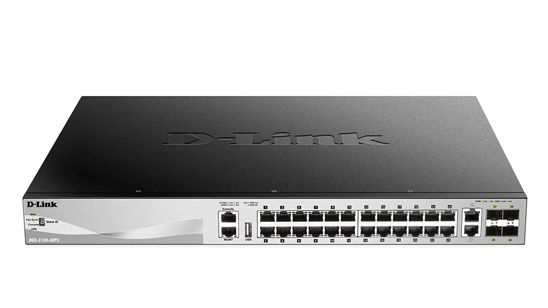 Switch D-Link DGS-3130-30PS cu management cu PoE 24x1000Mbps-RJ45 (PoE) + 2x10GBASE-T + 4xSFP+
