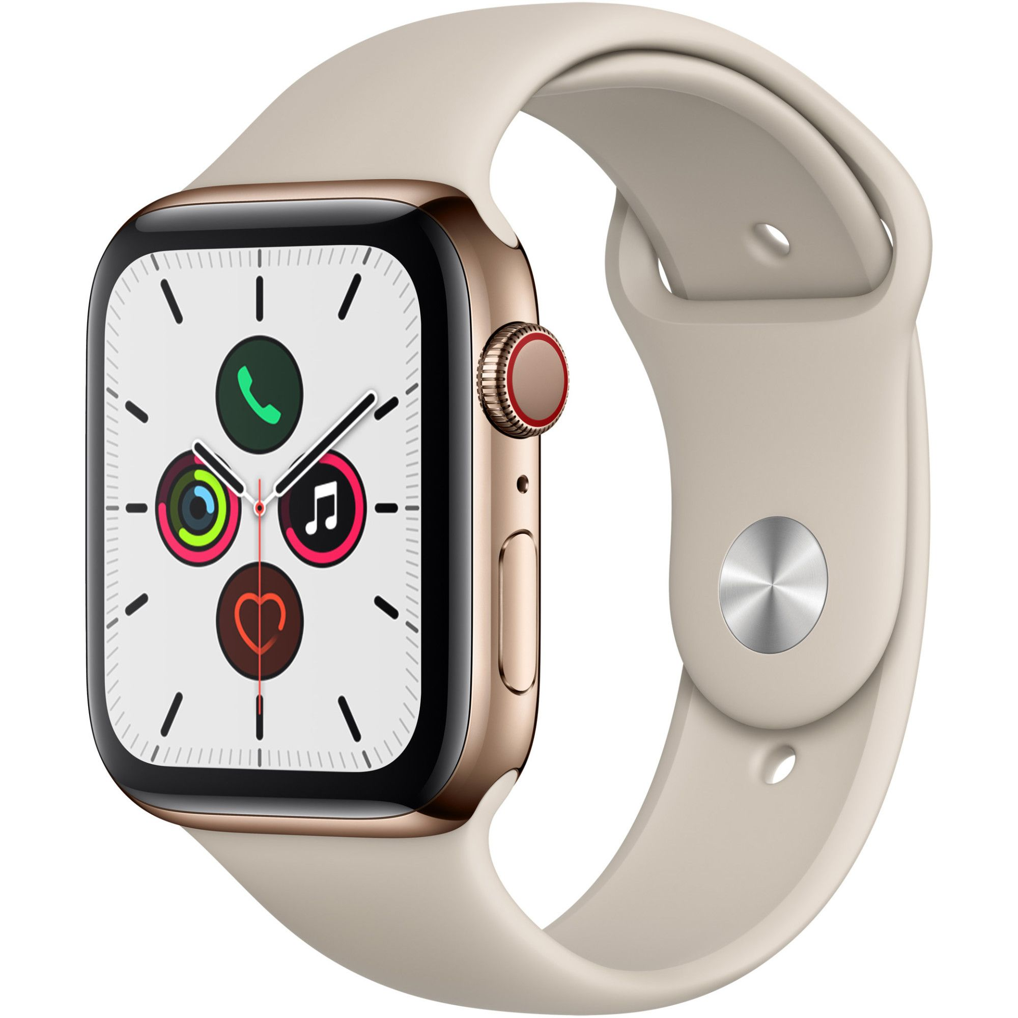 Smartwatch Apple Watch Series 5 GPS + Cellular 44mm 4G Carcasa Gold Stainless Steel Bratara Stone Sport - S/M & M/L