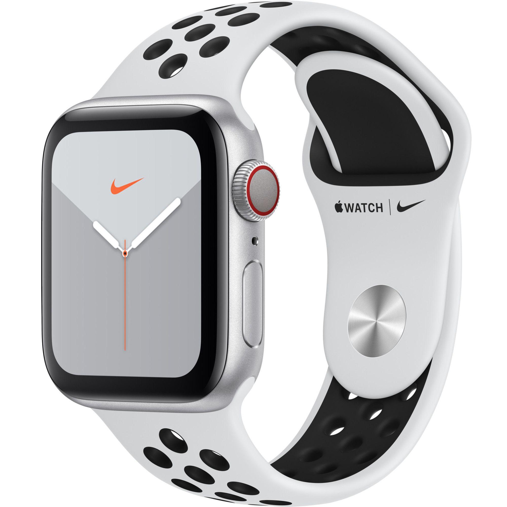 Smartwatch Apple Watch Nike 5 GPS + Cellular 40mm 4G Carcasa Silver Aluminium Bratara Pure Platinum/Black Nike Sport - S/M & M/L